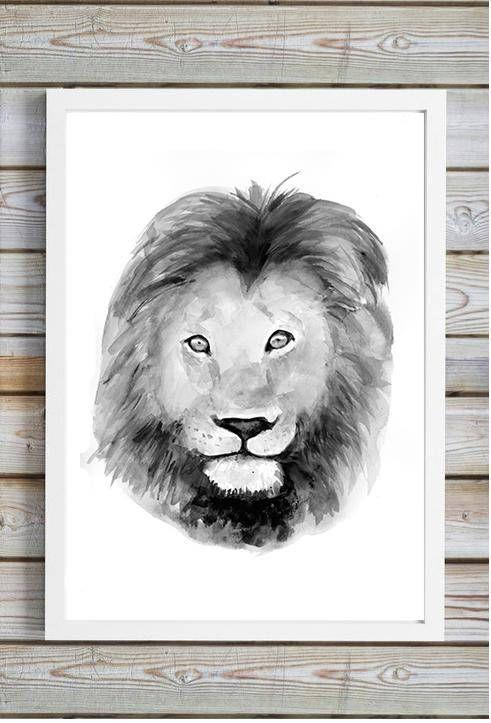 Leeuw kunst  print  aquarel leeuw zwart grijs wit