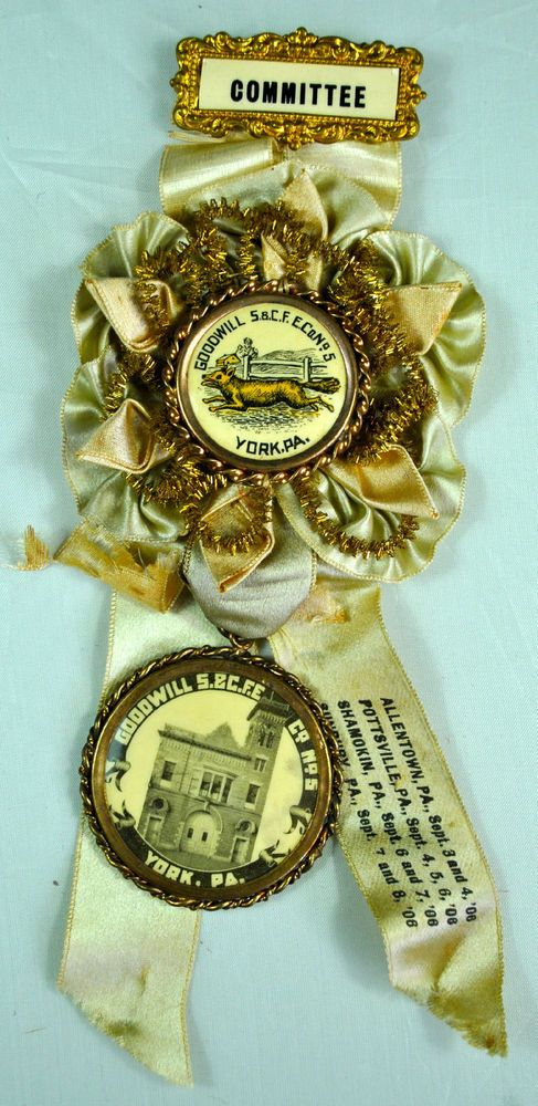 WONDERFUL 1906 GOODWILL STEAM & COAL FIRE ENGINE CO CELLULOID BADGE & RIBBON