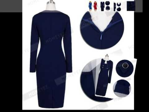 Autumn Winter Women Business Casual Sliming Pencil Dresses Elegant Long Wear To Work