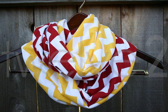 Infinity Scarf // Red/Yellow Chevron Jersey Knit // Kansas City Chiefs/Calgary Flames