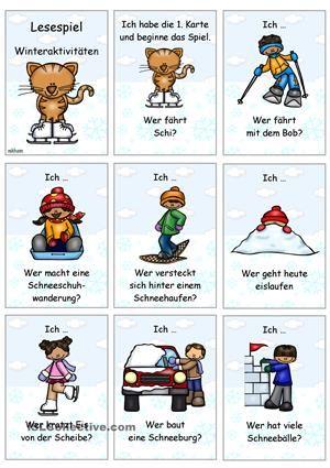 Lesespielzum Thema Winteraktivitäten- Sprechübung- Phrasen: Ich ... Wer ...?- Einüben von Phrasen & Sätzen: vorsprechen- nachsprechen- Präsens- Konjugation (1.P.+ 3.P./ Sg.)Version OHNE Vorgabe der Verbkonjugation.Ich hoffe,es gefällt euch! ; )Viel Freude damit!Bildmaterial: www.teacherspayteachers.com/Store/Educasong - DaF Arbeitsblätter