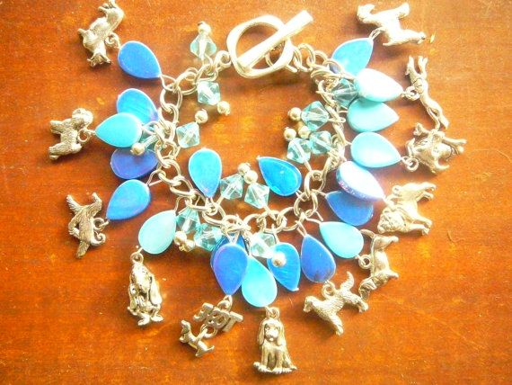 Dog charm Bracelet, + blue beads, silver tone Pewter dog breed charms