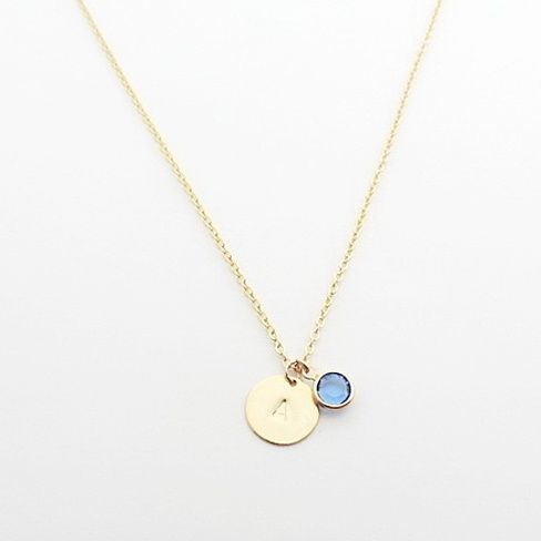 Dainty gold initial with birthstone necklace