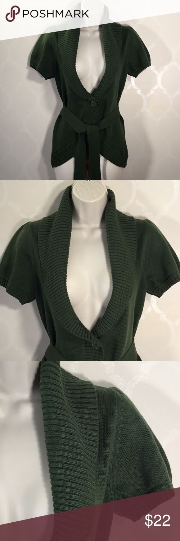 🆕BANANA REPUBLIC OLIVE GREEN CARDIGAN Banana Republic Cardigan ➖ Color is Olive Green! ➖ Front Button ➖ Shawl Collar ➖ Rounded Hemline in Front ➖ Belt is Attached in Back ➖ Small Gathers at top of Short Sleeves Banana Republic Sweaters Cardigans