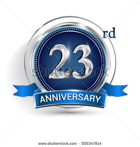 Celebrating 23rd anniversary logo, with silver ring and blue ribbon isolated on white background.