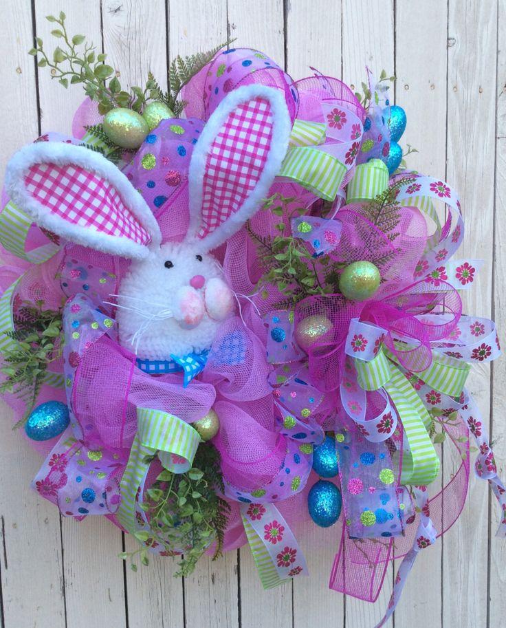 Pink Bunny Mesh Wreath Bunny Wreath Easter Wreath By
