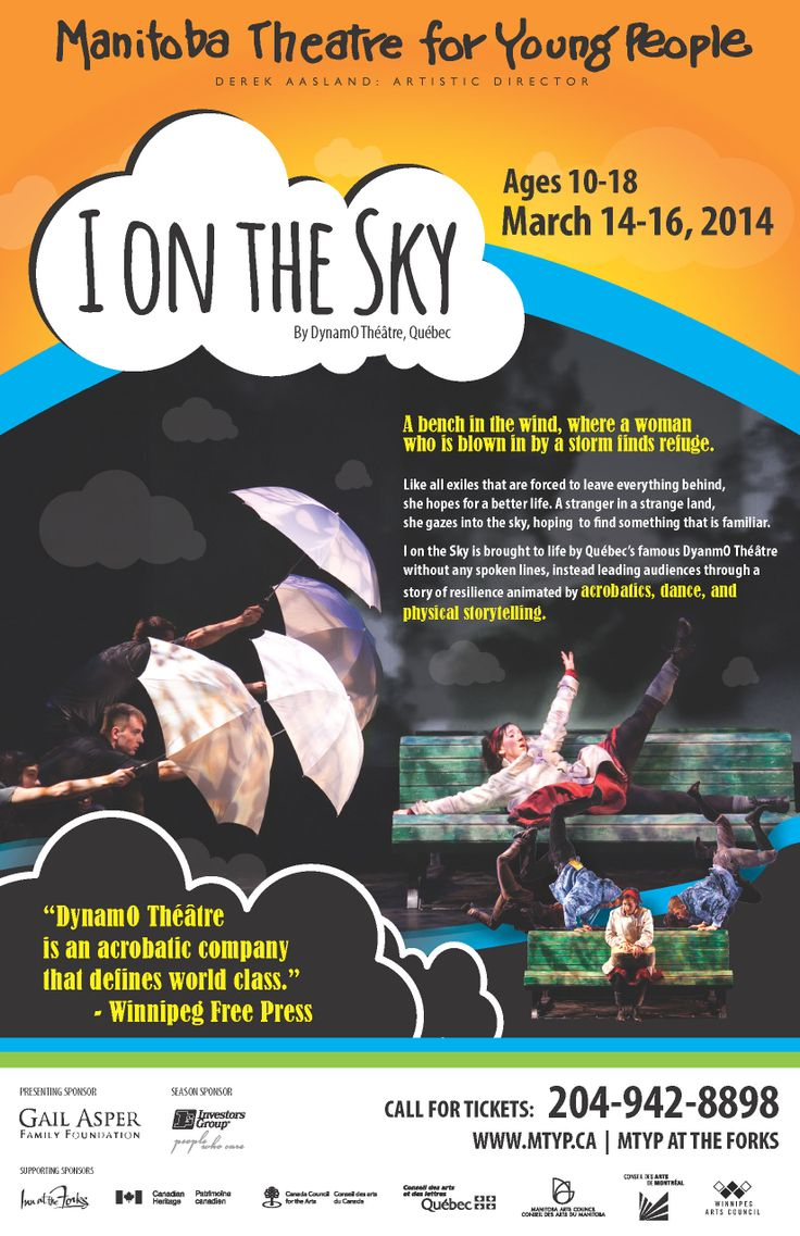 """The show bill for the MTYP presentation of """"I on the Sky"""" by DynamO Théâtre, playing the MTYP Mainstage March 14-16, 2014"""