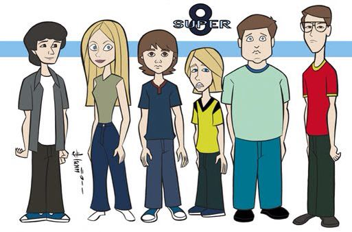 Zach Mills, Elle Fanning, Joel Courtney, Ryan Lee, Riley Griffiths, and Gabriel Basso. A cartoon sketch of their characters in Super 8