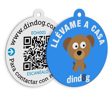 Placa de identificación para perros con código QR