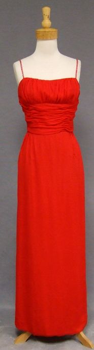 Vintageous, LLC - Gathered Red Chiffon 1960's Evening Gown w/ Rhinestone Straps, $180.00 (http://www.vintageous.com/gathered-red-chiffon-1960s-evening-gown-w-rhinestone-straps/)