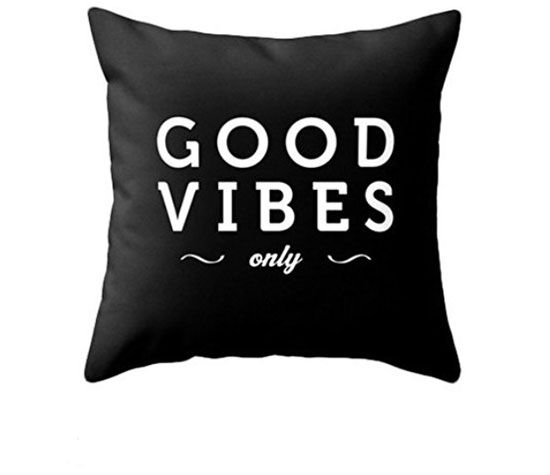 Good Vibes Only Black Typography Throw Pillow | Easy Tumblr Decor Bedroom Ideas for Teen Girls | Cheap and Easy Bedroom Decorating Ideas
