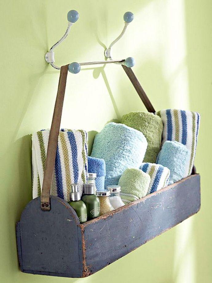 Almacenaje baño con caja de herramientas madera decoración diy