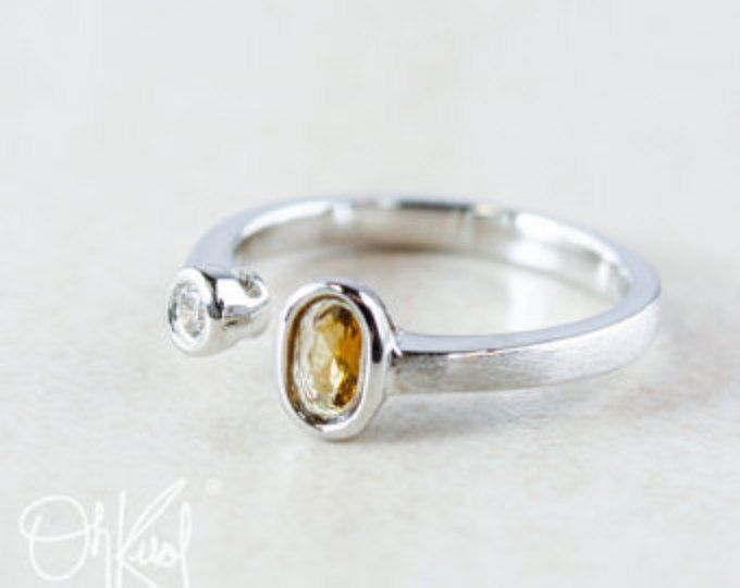 Dual Stone Ring - Honey Yellow Tourmaline & Diamond - Brushed Silver