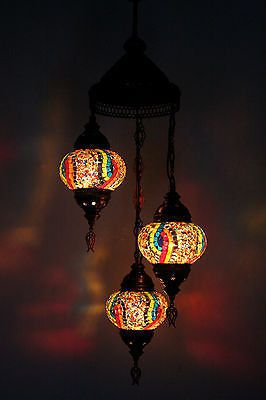 TURKISH OTTOMAN MOROCCAN MOSAIC HANGING 3 PIECE SET CHANDELIER XMAS GIFT