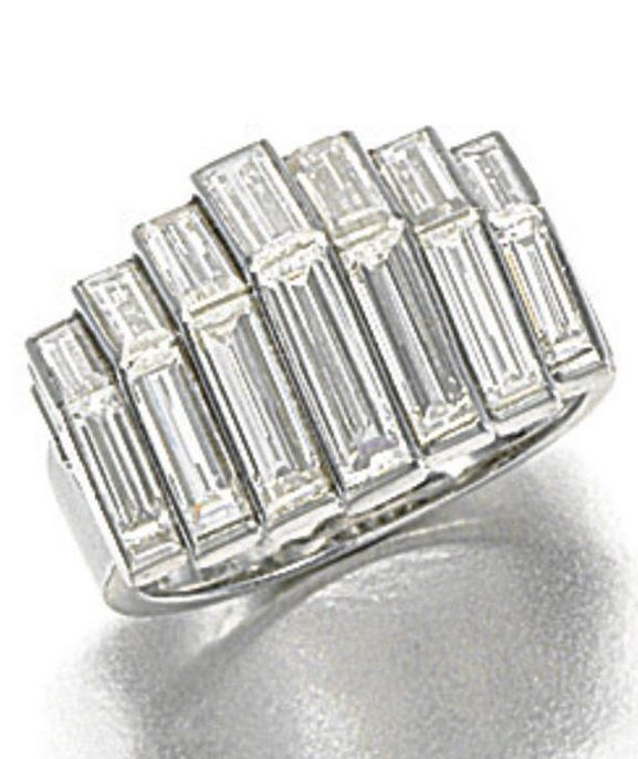 AN ART MODERNE DIAMOND RING, CARTIER, 1930s. Of architectonic design inset with a series of graduated baguette diamonds, signed Cartier London, maker's marks. #Cartier #ArtModerne #ring