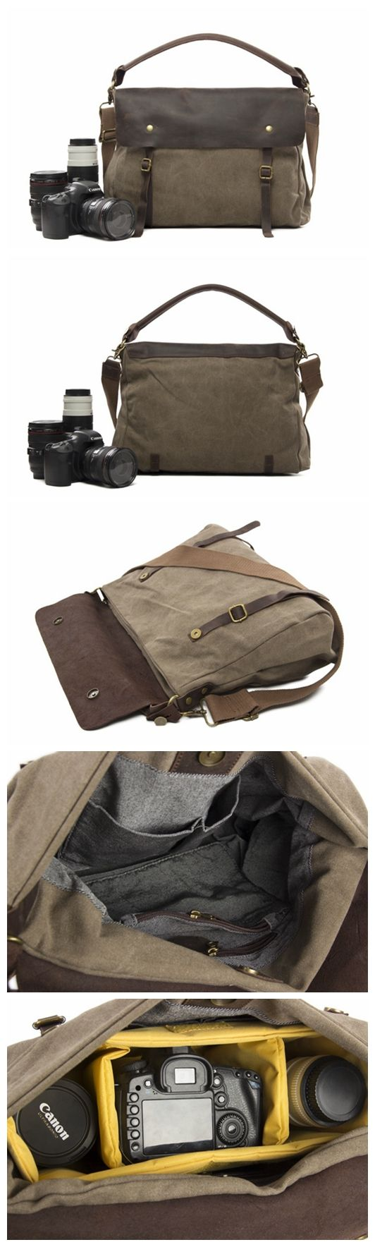 Canvas with Leather Trim DSLR Camera Bag Shoulder Bag Messenger Bag Tote Bag