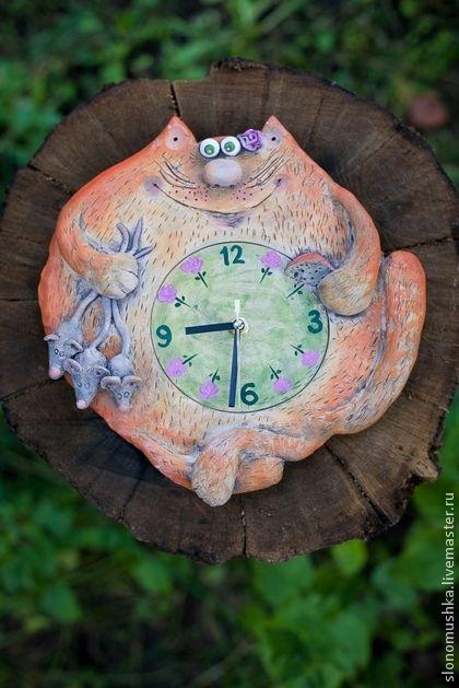 """Часы для дома ручной работы. Ярмарка Мастеров - ручная работа Керамические часы """"Весеннее настроение.Кошечка."""". Handmade."""