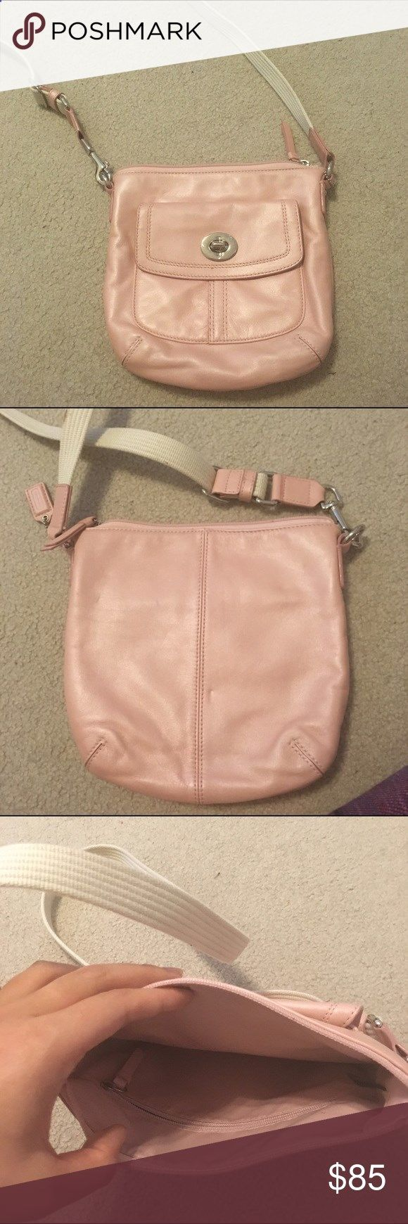 Cute pink coach purse! Over the shoulder coach purse, small stain on handle, used only twice. Excellent condition (besides the small stain). Coach Bags Crossbody Bags