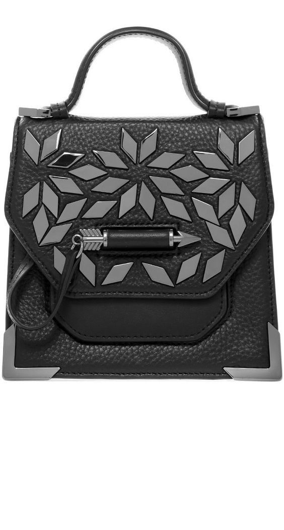 MACKAGE- RUBIE-A LEATHER CROSSBODY BAG WITH STUDS IN BLACK