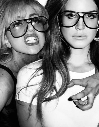 Lady Gaga & Lana Del Rey looking geek chic and fierce. Click to shop this…