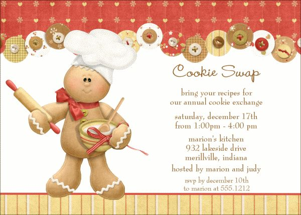 136 best Cookie Exchanging images on Pinterest Christmas decor - free xmas invitations