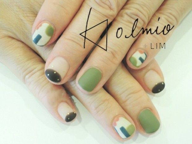 Green tee & Japanese sweets themed nail designs