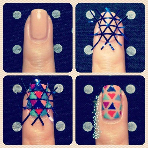 "Nail art - nail tutorial - nail polish triangle design using 1/16"" tape - Instagram photo by  pixiedustz - #nailart"
