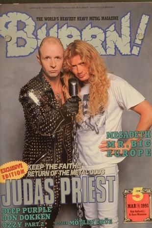 Dave Mustaine Dave Mustaine Rob Halford Burn Magazine Japan March 1991 Magazine Cover Photo