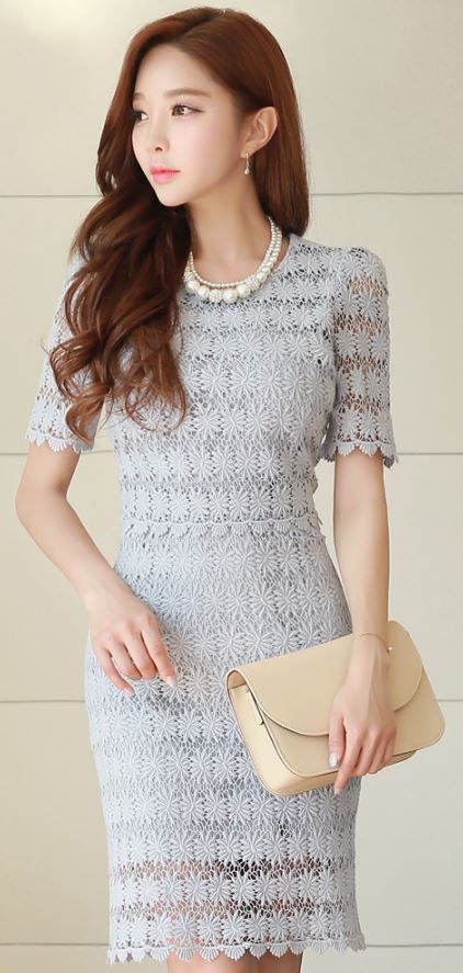 StyleOnme_Floral Lace Short Sleeve Fitted Dress #floral #flower #lace…
