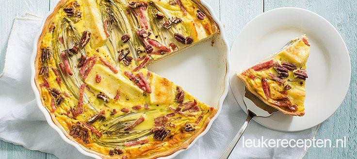 Witlof met ham en kaas is een gouden combi, zo ook in deze heerlijke quiche