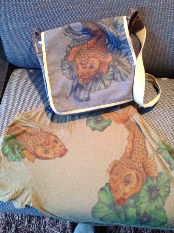 Bag and matching t shirt. Koy design.