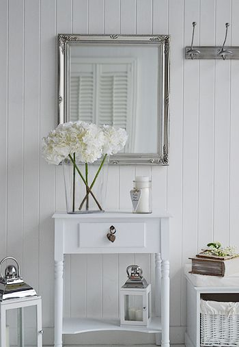 large silver decorative wall mirror. Ideas and designs in furniture and accessories for decorating your white home from The White Lighthouse www.thewhitelighthousefurniture.co.uk