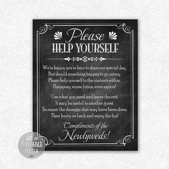 Bathroom Basket 8x10 Printable Wedding Sign Instant Download, Chalkboard Background