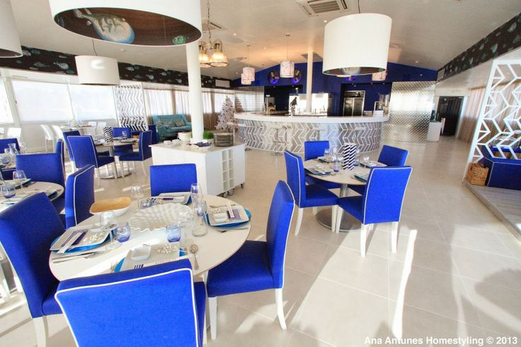 Querido Mudei a Casa Tv Show - Before special project for the Querido Mudei a Casa Tv Show - Sushi & Fish restaurant over the Carcavelos Beach in Lisbon. cobalt blue, coastal, cole&son wallpaper 'acuario', floor & silver wall by lovetiles
