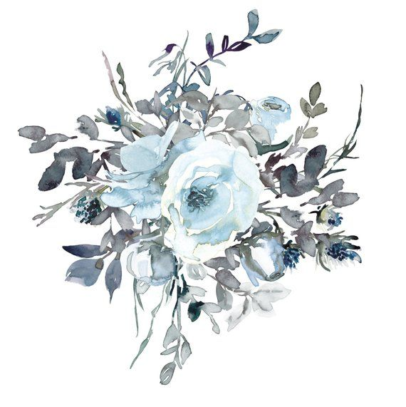 Watercolor White Light Blue Roses Clipart One Arrangement Hand