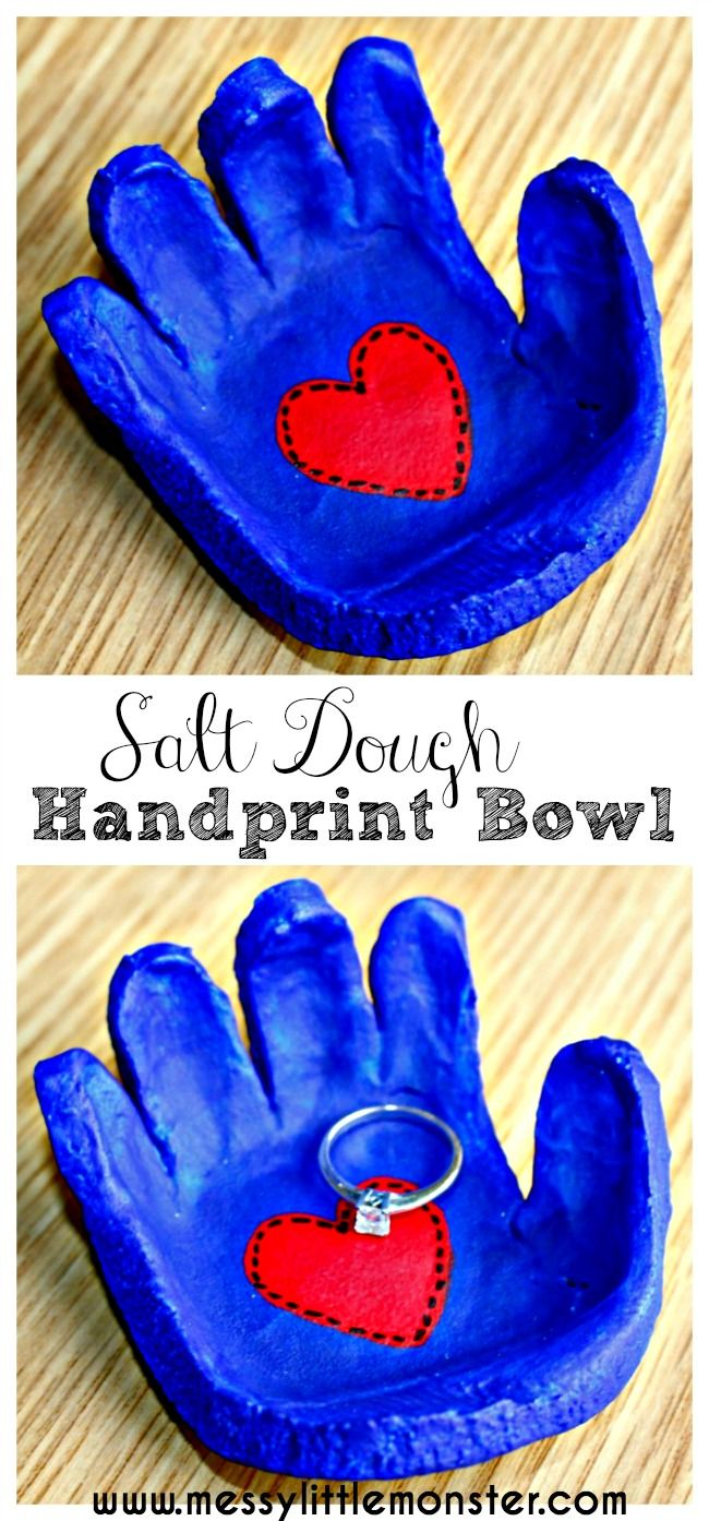 Salt dough handprint bowl keepsake.  Follow our simple instructions to make a salt dough hand shaped dish for rings, cufflinks, coins or keys.  A great kid made gift idea for mothers day, fathers day, valentines day or christmas. perfect craft to accompany 'the kissing hand'.