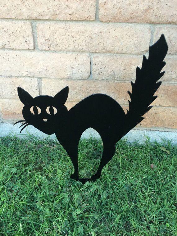 Black Cat, Halloween Cat, Scaredy Cat, Halloween Lawn Decor, Outdoor Halloween Decorations, Halloween Decor, Aluminum