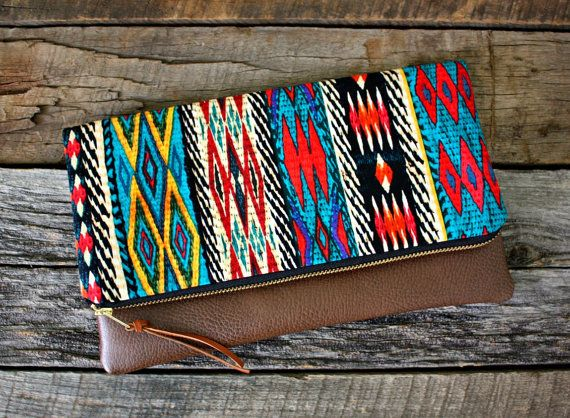 Ethnique Tribal Bohème Foldover embrayage / par SweetPeaTotes