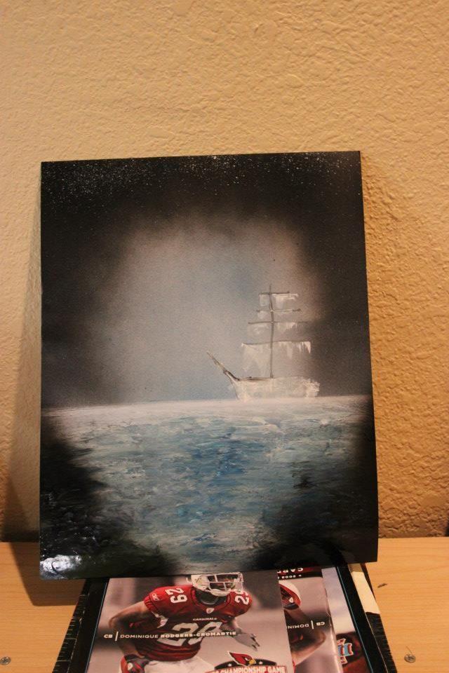 ship spray paint art | Via Sherry Miller