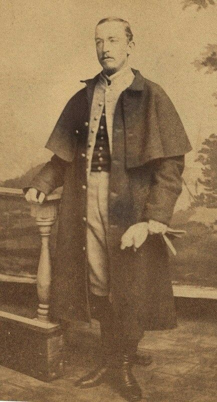 Captain Edward Brett Randolph, 7th Alabama Cavalry, wears a Peter Tait Company overcoat in this image. It is no different from those made for the Confederate army by S. Isaac Campbell & Company, or those used by the British army. Image courtesy of the Alabama Department of Archives and History, Montgomery, Alabama