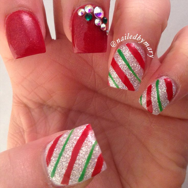 Best 25+ Candy cane nails ideas on Pinterest | Christmas ...