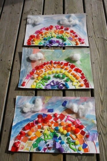 A rainbow collage that kids can make with crafting scraps and odds and ends. Great preschool craft for toddlers!