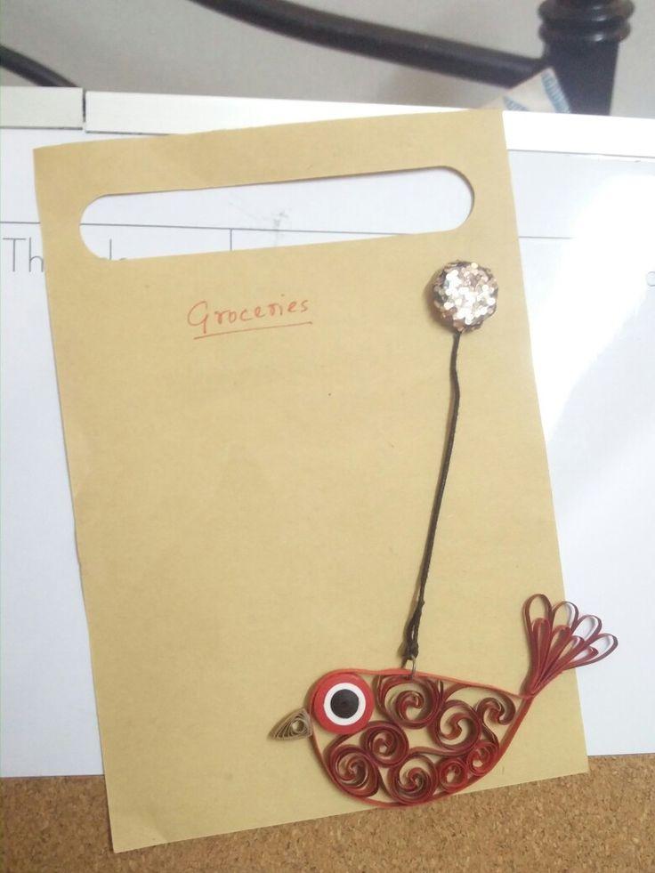 Paper quilled bird fridge/ board magnet