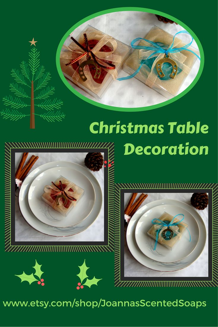 A UNIQUE  decoration of your Festive Table: Small handmade guest gifts - very beautifully packed boxes over the plates. Each box contains a luxury handmade glycerin scented soap, organza cloth, ribbons matching the soap's color and a Charm for Good Luck for decoration!. Try it!