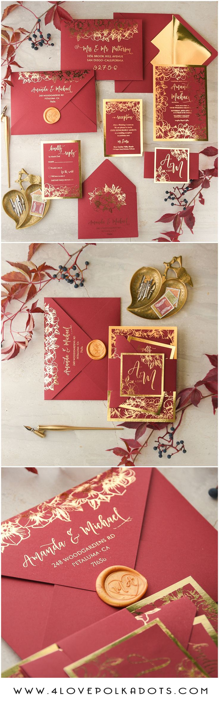 Marsala Red & Gold wedding invitations with gold foil and wax stamping – glam and shiny FTW!