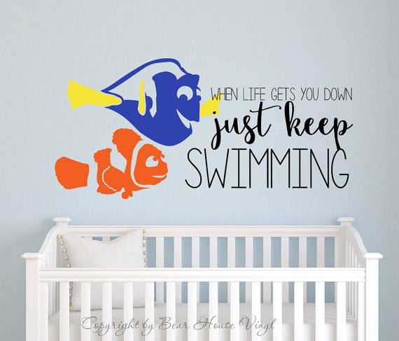 Just keep swimming Finding Nemo Dory quote vinyl wall decal