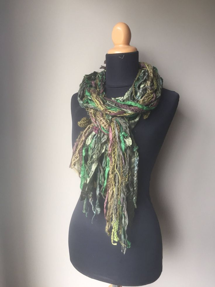 Excited to share the latest addition to my #etsy shop: Boho Fringe Gypsy Scarf in Silk Wool Hemp Forest inspired Burning Man Autumn Woods All Natural Fiber Art Scarf