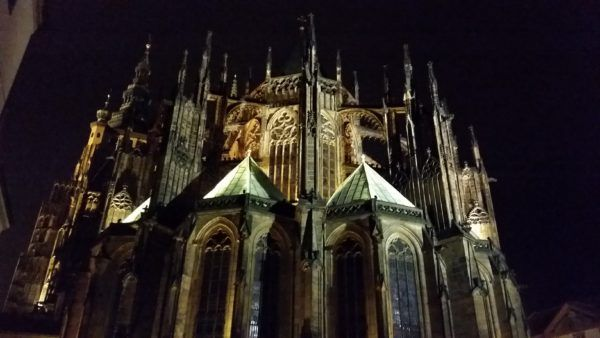 The rear of ST Vitus Cathedral at Prague Castle, ST Georges Square.