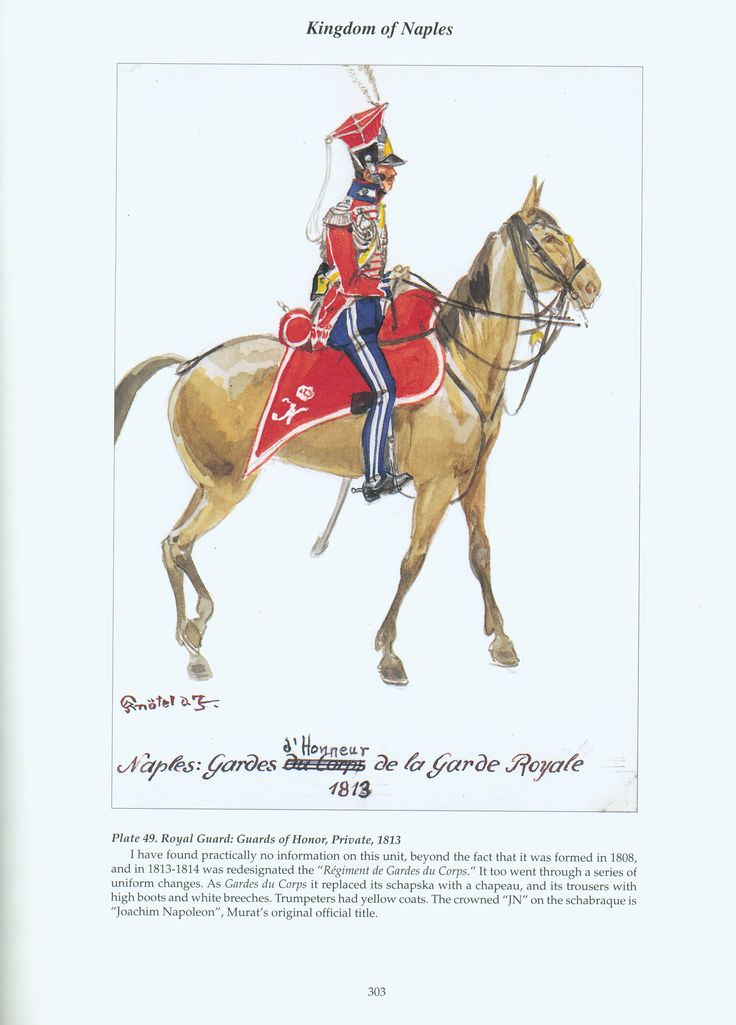 Kingdom of Naples: Plate 49. Royal Guard: Guards of Honor, Private, 1813.