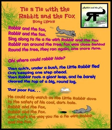 $14.95 for Learn To Tie A Tie With The Rabbit And The Fox Book - These are the song lyrics.